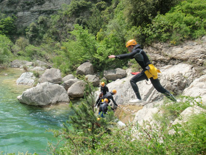 Determination is the most important thing to do a good jump! Barbaira canyoning