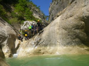 canyoning in Riolan-Nice-one of the first jumps