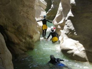 Nice light in the final part-canyoning in riolan-Alpes Maritimes