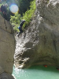 A big jump while canyoning in Riolan in Nice Côte d'Azur