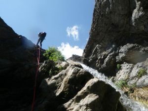 Abseiling in canyoning, easier than it looks...
