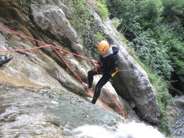 Abseiling in the Gorges du Loup, one of the best grade 2 half day canyoning trips in the Cote d'Azur.