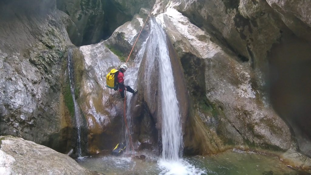 Abseiling in Planfae canyon near Nice